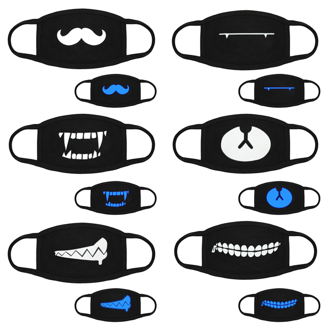 6pcs Cotton Dust Mask Cartoon Teeth Muffle Face Respirator Anti Kpop Bear Mouth Mask Glow in the Dark Face Mouth Cover 5
