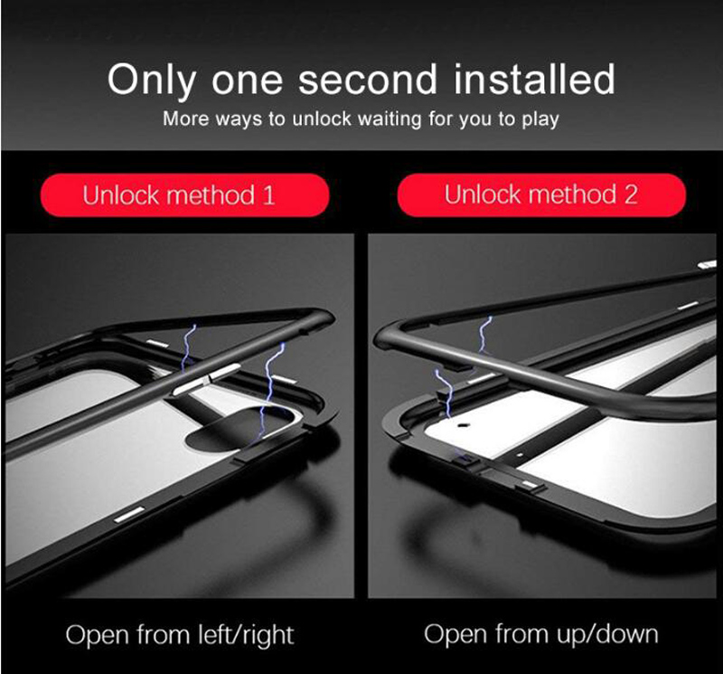 Металлический магнитный адсорбционный чехол для iPhone 7, 8, 6, 6s Plus, X, XR, закаленное стекло, задняя крышка на магните для iPhone 6, 6s Plus, X, XS, Max, чехол
