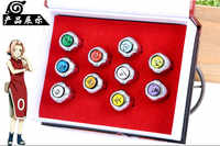10 pcs/set Japanese Anime NARUTO PVC Action figure Rings Cosplay Akatsuki Member's Uchiha Itachi Pain Ring Pendant Toys Gift New