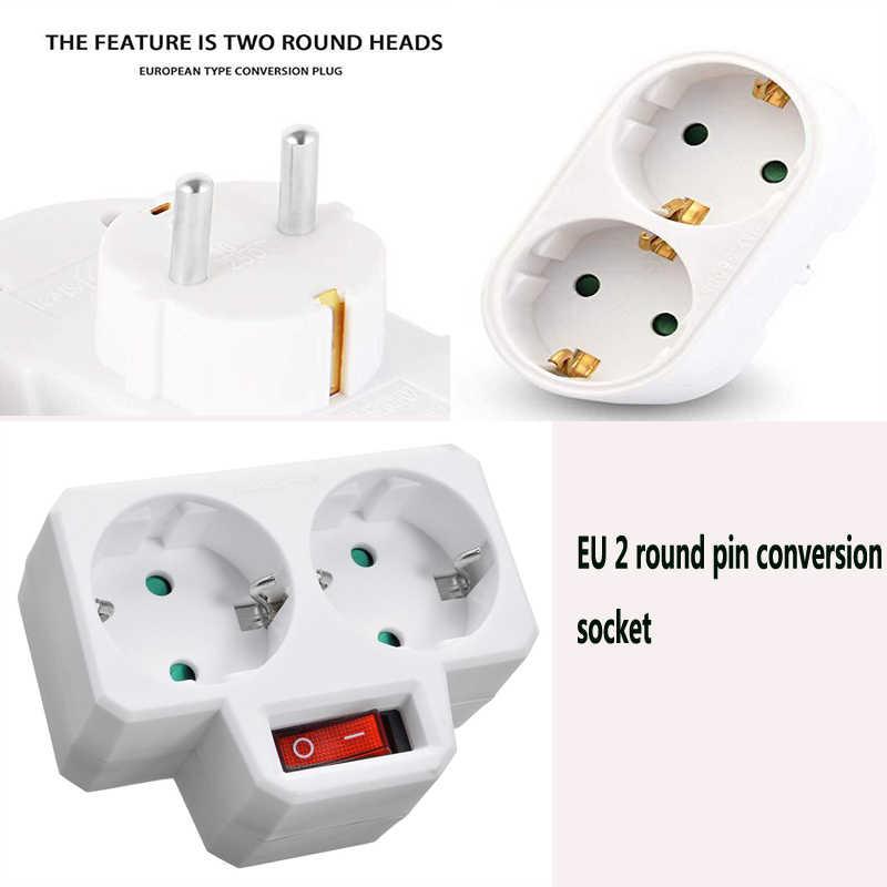AC 110~250V European Conversion Plug Socket Adapter 1 to 3 Way EU Standard