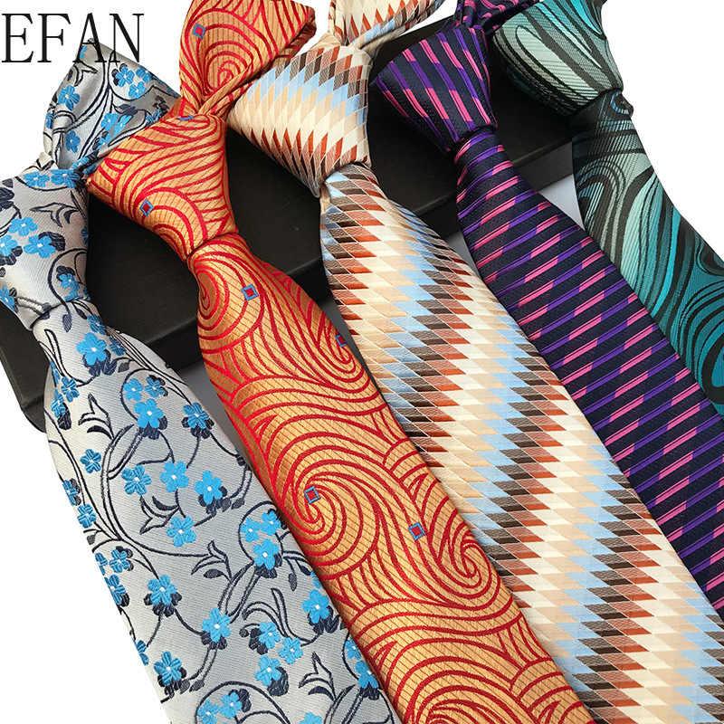 새로운 디자인 페이 즐 리 격자 무늬 자 카드 짠 실크 망 넥타이 넥타이 8cm 스트라이프 넥타이 남자 비즈니스 정장 비즈니스 웨딩 파티