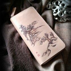 Женские кошельки из натуральной кожи, порезные пейзажи, оригинальный пейзаж, сумка для рисования, кошельки, длинный клатч, кожаный кошелек и...