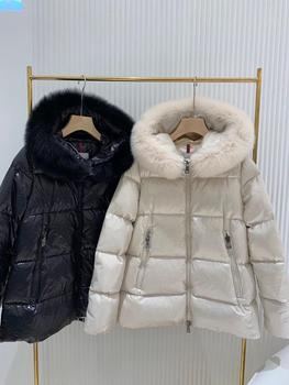 M down jacket women's big fur collar white goose down winter warm coat 1