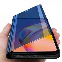 Espelho inteligente flip caso magnético para oppo reno5 lite reno 5 f luz 5 lite reno5lite reno5f suporte capa do telefone proteger fundas coque