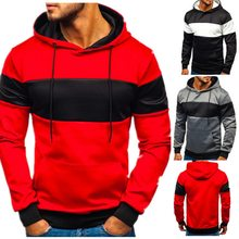 2020 Man Pocket Patchwork Hooded Cardigan for Men Slim Fit Hoodie Coat Men Casual Long Sleeve Sweatshirts Male Jackets(China)