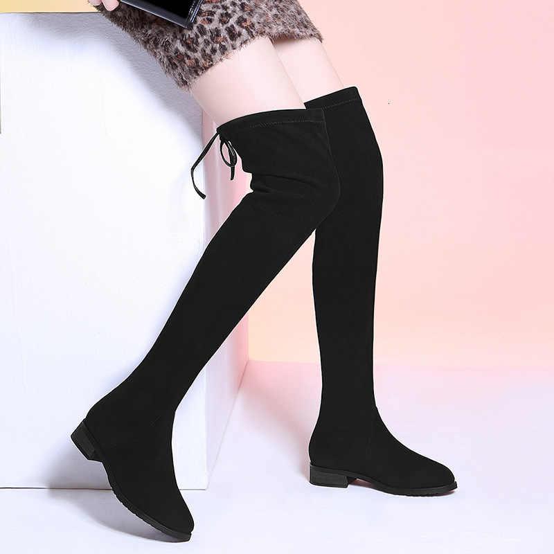 Suede Laarzen Maat Over de Knie Platform Hoge Hak Laarzen Hoofd Verhogen Overknee Laarzen Laarzen Vrouw Hoge Lange Vrouw Zwart