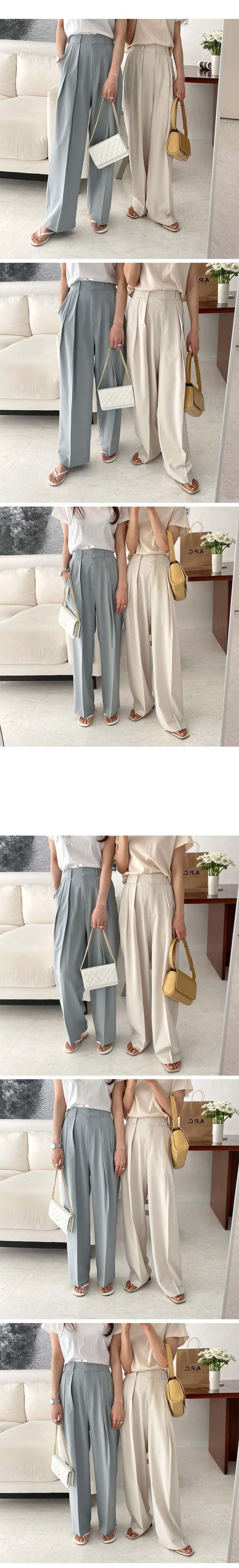 H8e0ff501e76e4620b45e833ef0b95ca8I - Summer Korean High Waist Loose Folds Wide Leg Solid Suit Pants