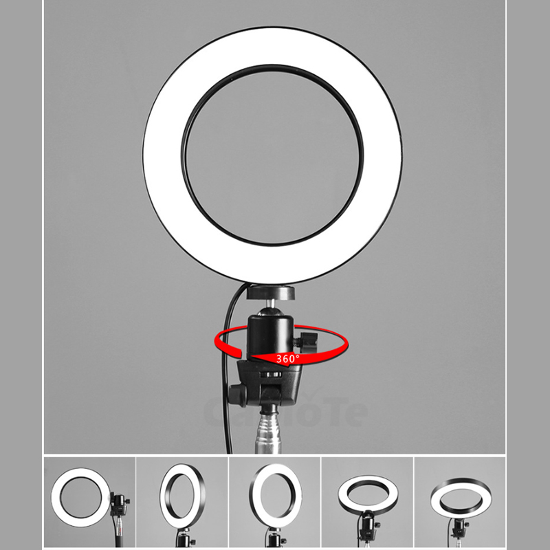 cheapest Video Light with Phone Holder Integrated Portable Fill Light LED Phone Selfie Ring Photography Light USB Lamp Makeup Youtube