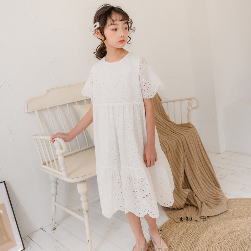 2020 New Fashion White Lace Girls Dresses Summer Cute Princess Dresses for Baby Girls Loose Kids Summer Dresses for Girls, #8321
