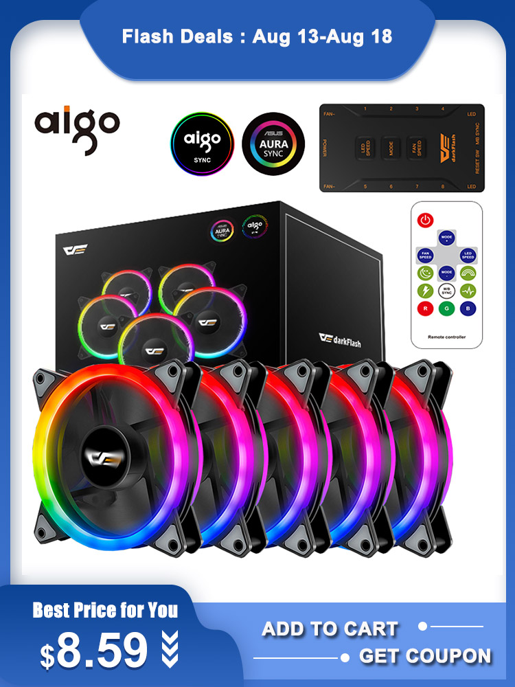 Aigo Computer Cooler Fans Fan-Speed Pc-Case Quiet 120mm Aura-Sync LED Remote Adjust Pro