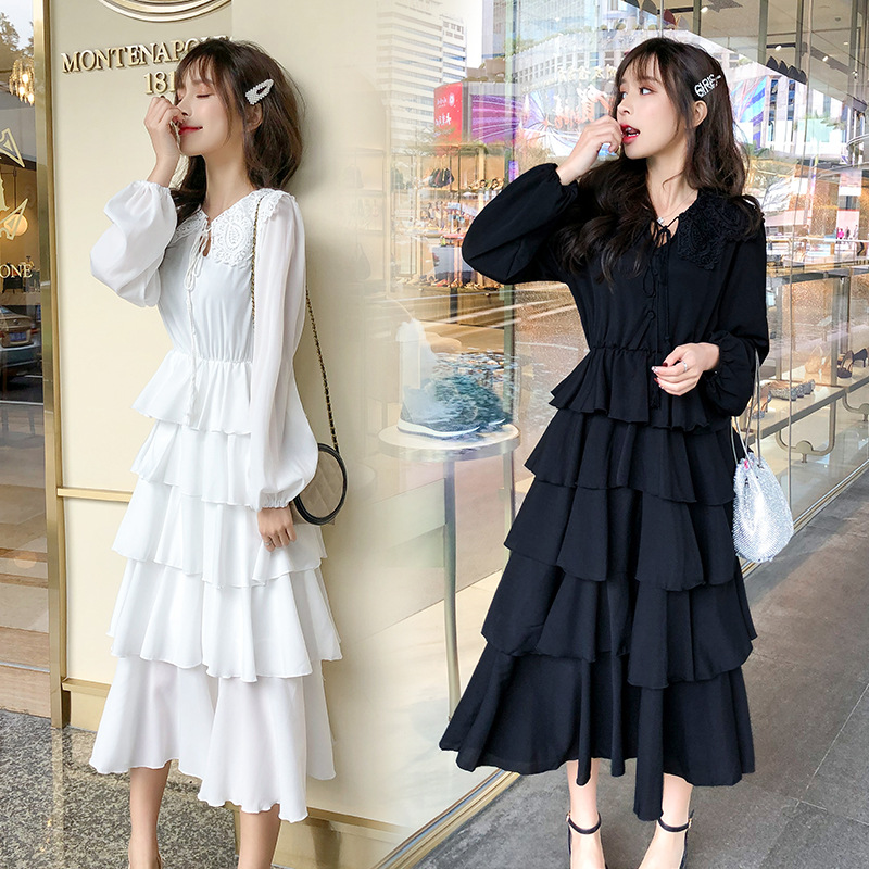 2019 Summer New Style Korean-style Elegant CHIC Black Dress Women's Cake Dress French GIRL'S Base Long Skirts