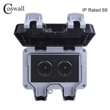 Coswall IP66 Chống Chịu Thời Tiết Chống Nước Ngoài Trời Treo Tường Ổ Cắm Điện 16A 2 Gang Tiêu Chuẩn EU Ổ Cắm Điện Nối Đất