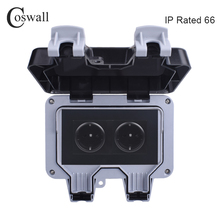 Coswall IP66 Weatherproof Waterproof Outdoor Black Wall Power Socket 16A 2 Gang EU Standard Electrical Outlet Grounded