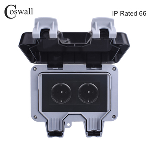 Image 1 - Coswall IP66 Weatherproof Waterproof Outdoor Black Wall Power Socket 16A 2 Gang EU Standard Electrical Outlet Grounded