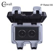 Coswall ip66 à prova de intempéries à prova dblack água ao ar livre preto tomada de parede 16a 2 gang padrão da ue tomada elétrica aterrado