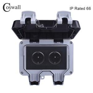 Image 1 - Coswall prise électrique 16a, 2 gangs, étanche IP66 pour lextérieur, pour mur noir, prises électriques, normes ue
