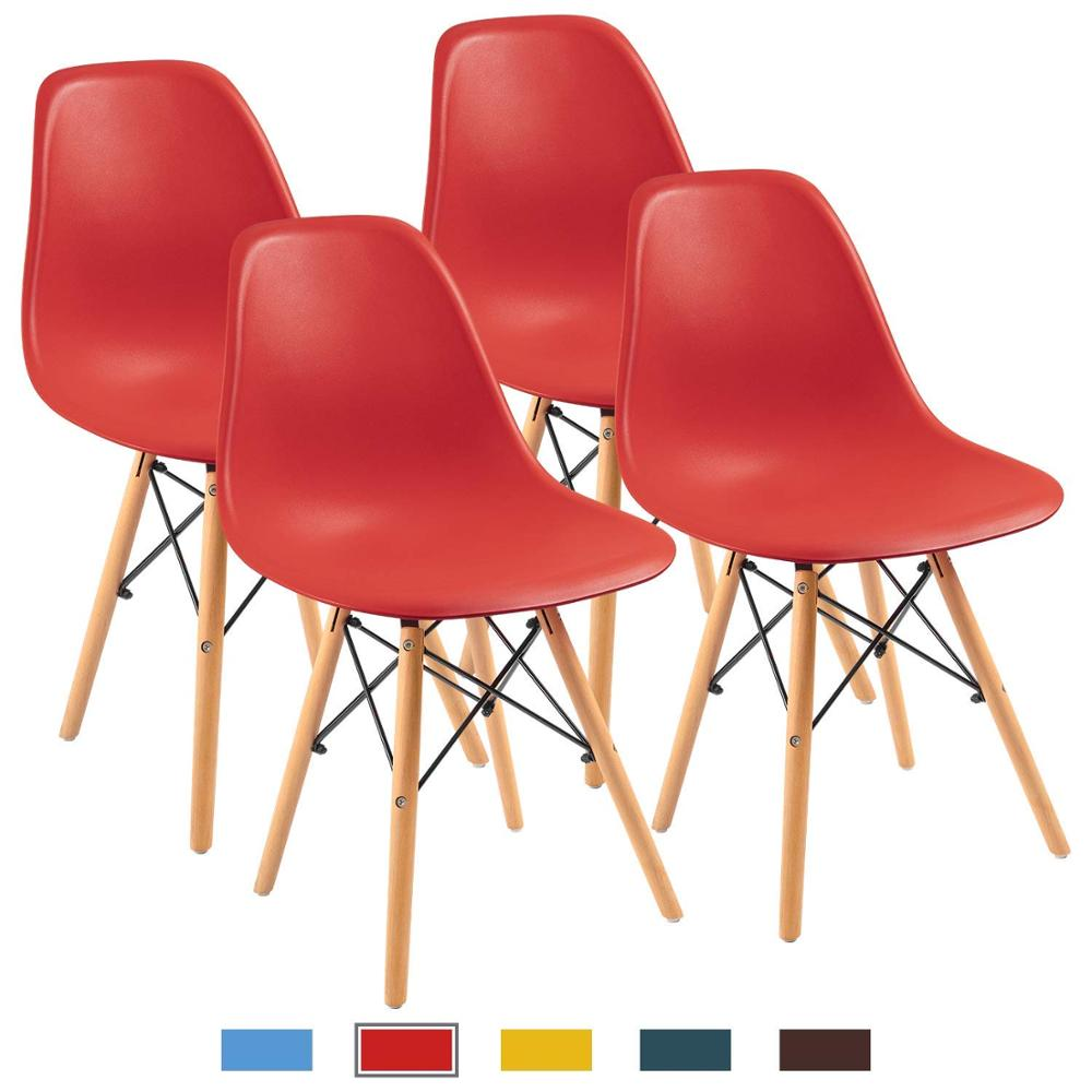 Nordic Simple Dining Room Chair, Modern Orange Shell Lounge Plastic Chair For Kitchen, Bedroom,Study,Living Room Chairs 4 Pcs