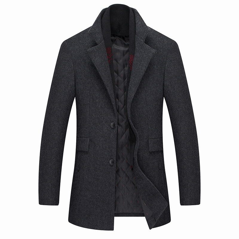 2020 Winter Scarf Woolen Winter Coat Men Casual Warm Removable Scarf Men's Coat Single Breasted Slim Mens Coats and Jackets