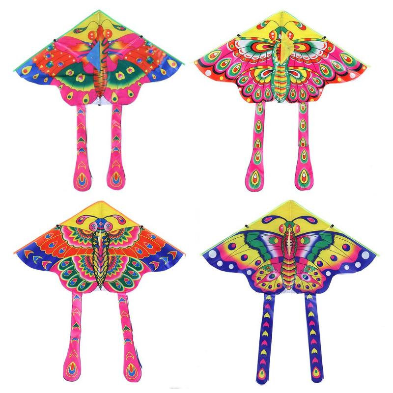 90x50cm Colorful Butterfly Kite Outdoor Foldable Bright Cloth Garden Kids Kites Outdoor Flying Toys Children Kids Toy Game Kites