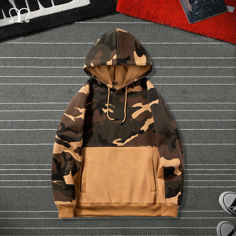 Men Camouflage Hoodies Fashion Brand Casual Hip Hop Mens Fleece Hoodies Military Pocket Full Sleeve Hooded Pullover Male Clothes