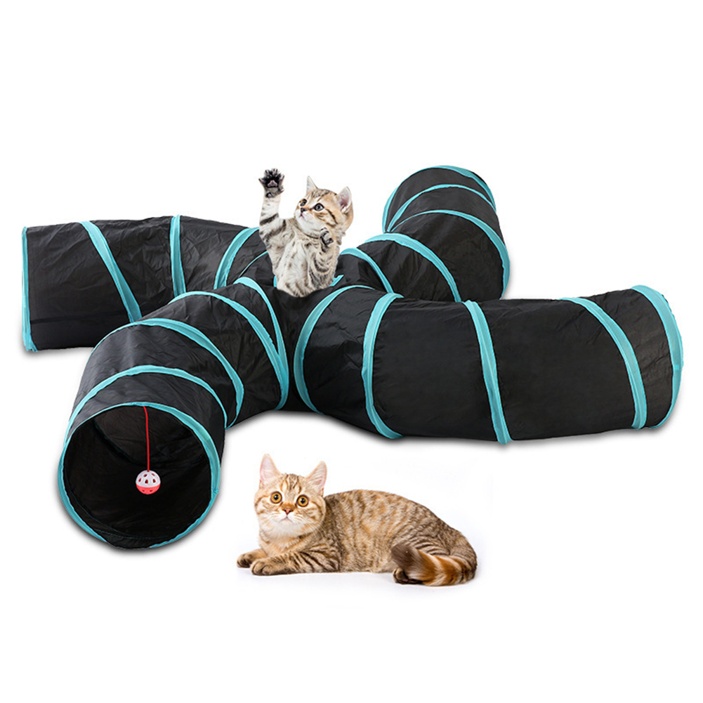 14styles Foldable Pet Cat Tunnel 2/3/4/5 Holes Pet Tube Collapsible Play Toy S-type Indoor Outdoor Kitty Puppy Training ToysTube 13