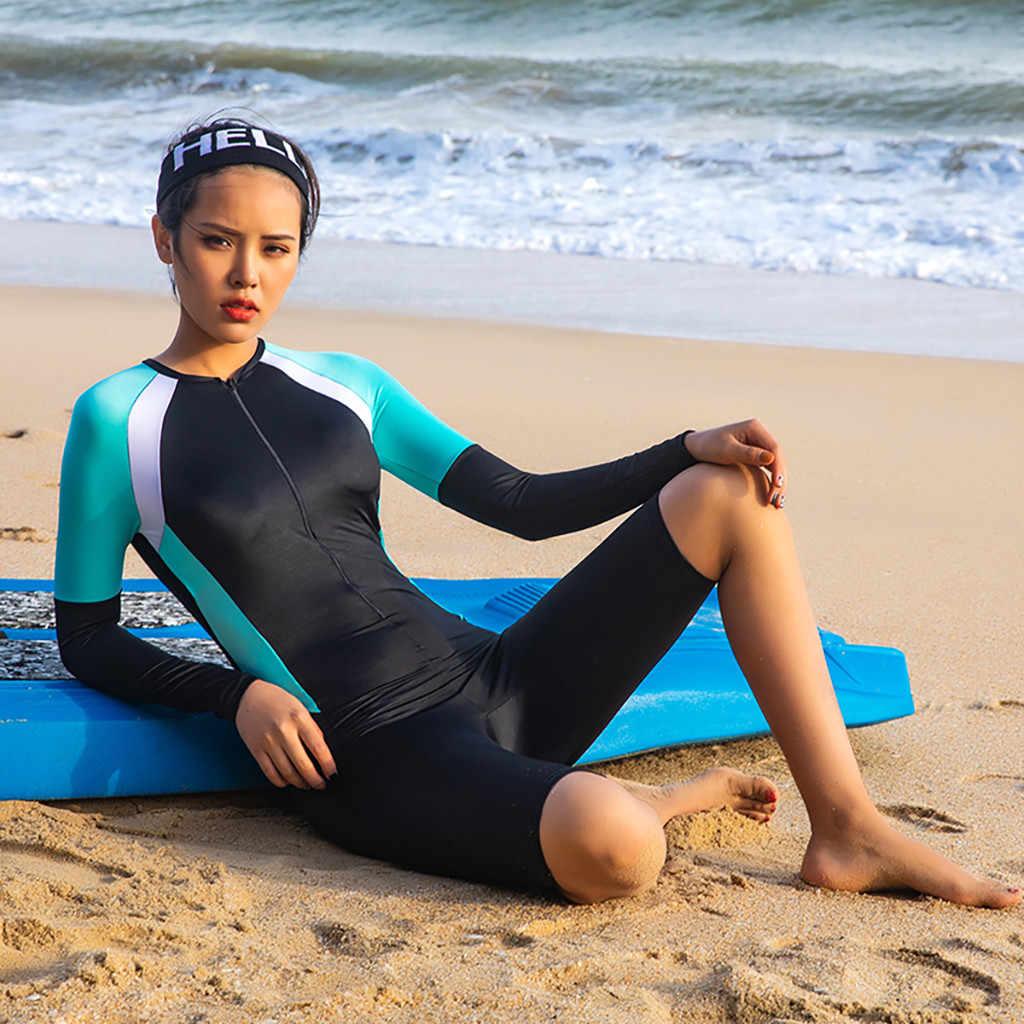 2019 yeni neopren Zip Shorty Wetsuit tüplü dalgıç kıyafeti döküntü bekçi mayo uzun kollu Rashguards fermuar Bodysuits Traje de bañ