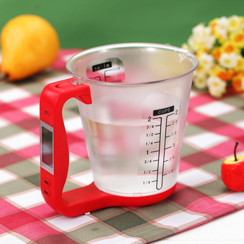 Electronic Measuring Cup Kitchen Scales Digital Beaker Host Weigh Temperature Measurement Cups With LCD Display image