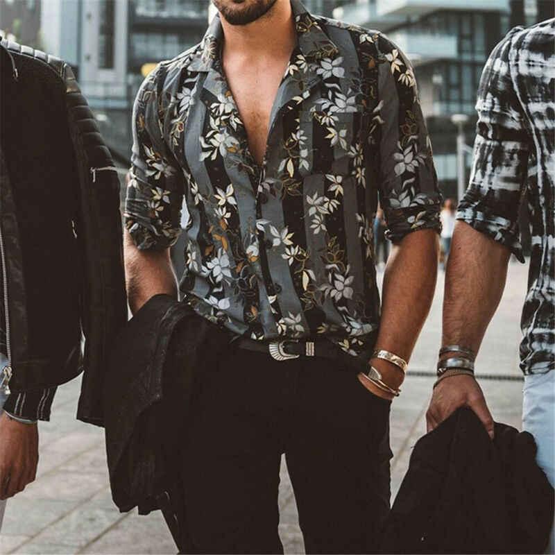 2019 Гавайские мужские футболки с принтом летние футболки с коротким рукавом и отложным воротником на пуговицах модные праздничные мужские тонкие футболки
