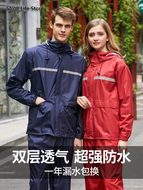 Black Waterproof Motorcycle  Raincoat Rain Pants Suit Set Rain Cover Rain Poncho Women Mens Sports Suits Outdoor Hiking Gift 2