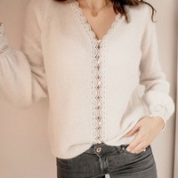 Lace Patchwork Knitted Cardigan Women Chic V Neck Long Sleeve White Knitted Sweater Jacket Tops