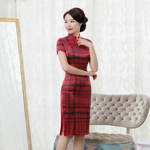 Image 2 - rhyme embroidered new plaid silk cheongsam brief paragraph improvement of mulberry silk qipao dress with short sleeves