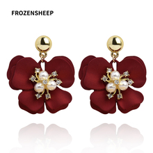 FROZENSHEEP 2020 new trendy Painted flower earrings for women 4colors elegant Spray Statement earring Pearl Rhinestone Brinco