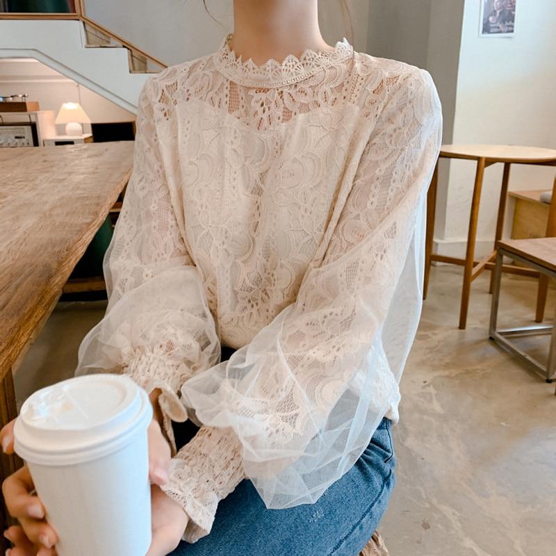 Dingaozlz New Fashion Women Lace Blouse Korea Fashion Stitching Mesh Tops Elegant Lantern Sleeve White Chiffon Shirt Blusa