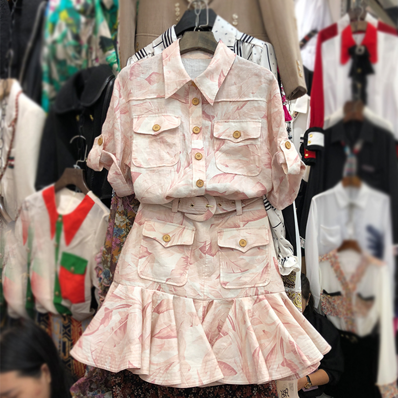 Two Piece Sets Women 2020 Spring And Summer New Fashion Printing Suit Short-Sleeved Pocket Thin Shirt + Skirt Set 2-Piece Set