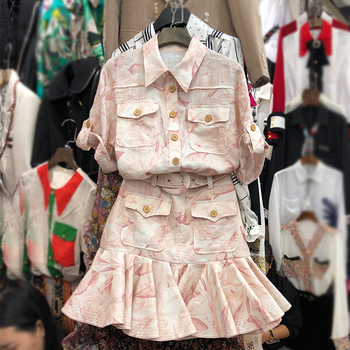 цена на Two Piece Sets Women 2020 Spring and Summer New Fashion Printing Suit Short-Sleeved Pocket Thin Shirt + Skirt Set 2-Piece Set