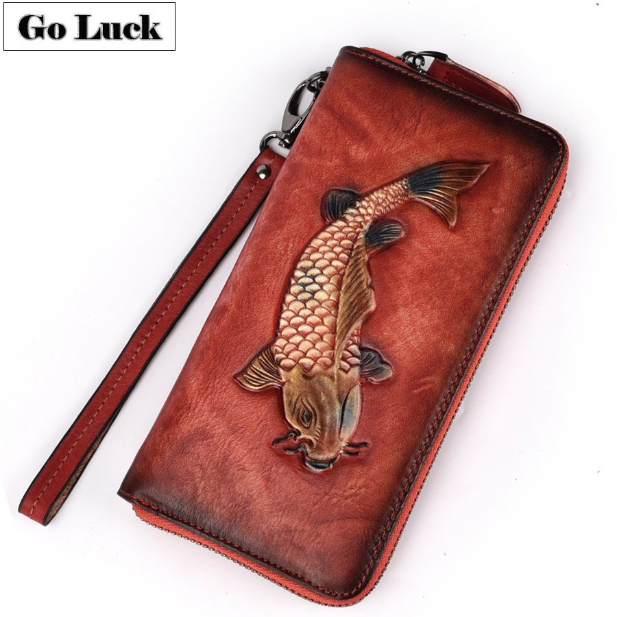 GO-LUCK Genuine Leather Women Clutches Wallet Women's Cell Mobile Phone Punch Bag Wristband Zipper Purse Golden Fish Engraved