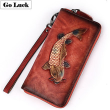 GO-LUCK Genuine Leather Women Clutches Wallet Women's Cell Mobile Phone Punch Bag Wristband Zipper Purse Golden Fish Engraved(China)