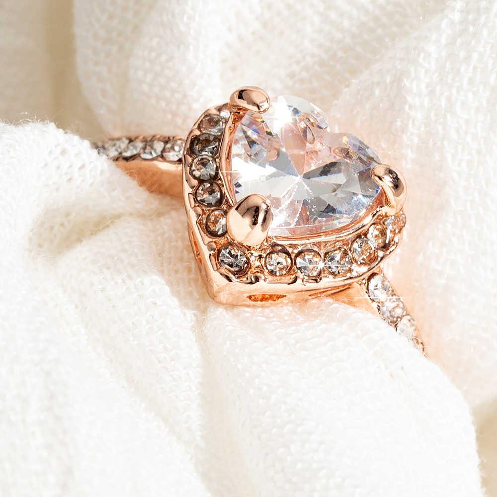 Di modo Dell'oro della Rosa di Cristallo Del Cuore A Forma di Anelli di Cerimonia Nuziale Per Le Donne di Lusso Elegante Zircone Anelli di Fidanzamento Dei Monili dei Regali Del Partito