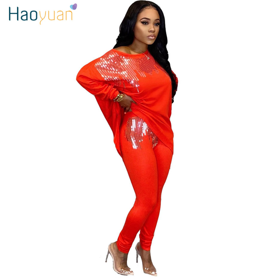 HAOYUAN Sequin Two Piece Set Women Rave Festival Clothing Sexy Club Outfits Long Top And Pant Sweat Suits 2 Pcs Matching Sets