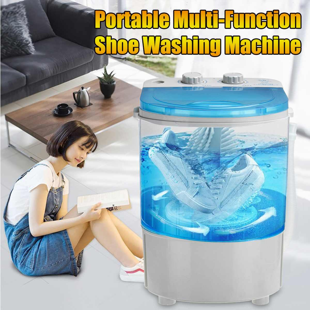 5kg Shoes Washing Machine Mini Single Tube Washer And Dryer Machine For Shoes Clothes Dual-use Shoes Cleaner Single-Barrel 220V