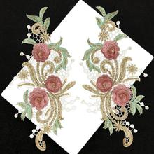 1Pairs różowe zielone złote koronki aplikacja do szycia na plastry na ubrania 3D naklejki z kwiatami garnitur haft aplikacja DIY tkaniny tanie tanio BANGUO CN (pochodzenie) 30x14cm HANDMADE Przyjazne dla środowiska Haftowana Do przyprasowania DX210