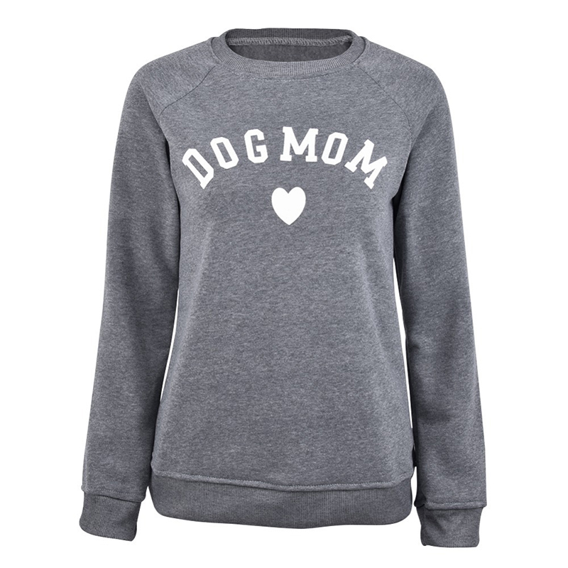 Autumn Winter Women's Sweatshirt Plus Velvet Dog Mom Heart-Shaped Print Ladies Pullovers Casual Letter Tops Kawaii Sweatshirts