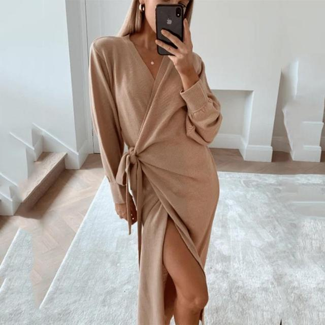 Autumn And Winter Women Kitted Dress Elegant Casual V -Neck Long Sleeve Midi Dress Solid Loose Split Side Sexy Dresses 1