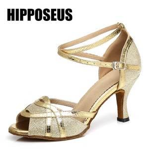 Shoes Zapatos De Mujer Ladies Shoes High Heel Latin Dance Shoes Girls Ballroom Salsa Dancing Sneaker Low Heeled 4/6/7.5/8.5/10cm