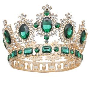 Image 5 - Винтажные свадебные тиары и короны с большими кристаллами для королевы, свадебный головной убор, конкурсное украшение для волос, аксессуары