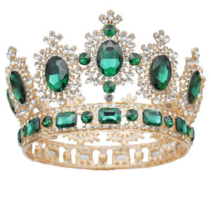 Image 5 - Vintage düğün taç büyük kristal Tiaras ve taçlar kraliçe gelin Headdress Pageant saç takı aksesuarları