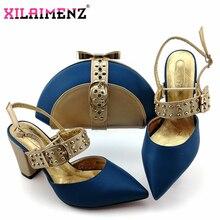 Королевский синий новый дизайн, итальянская элегантная обувь и сумка в комплекте, итальянская удобная обувь на каблуке и сумочка в комплекте для свадьбы