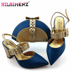 Image 1 - Royal Blue New Design Italian Elegant Shoes And Bag To Match Set Italian Comfortable Heels Party Shoes And Bag Set For Wedding