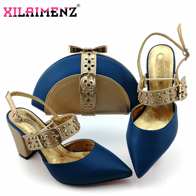 Royal Blue New Design Italian Elegant Shoes And Bag To Match Set Italian Comfortable Heels Party Shoes And Bag Set For Wedding