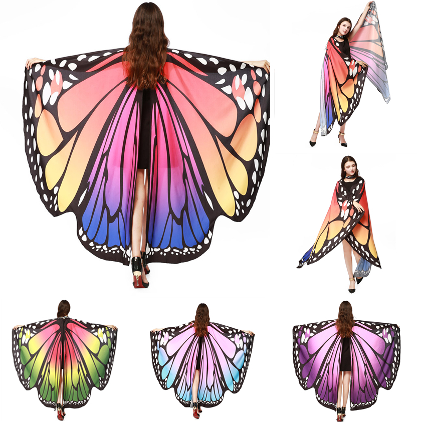 Colorful Butterfly Wings Pashmina Girls Fabric Nymph Pixie Poncho Scarf Ladies Halloween Fairy Costumes Accessory Shawl